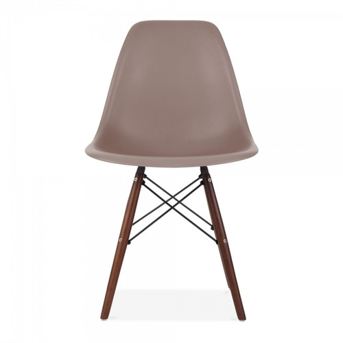 Plastic Scandi Dining Chair in Brown with Walnut legs