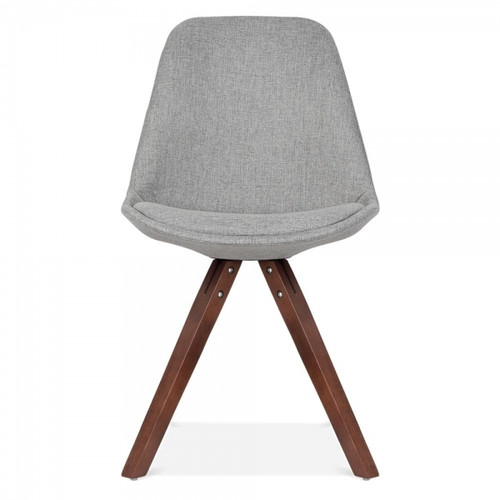 Scandinavian Design Upholstered Chair in Grey Fabric