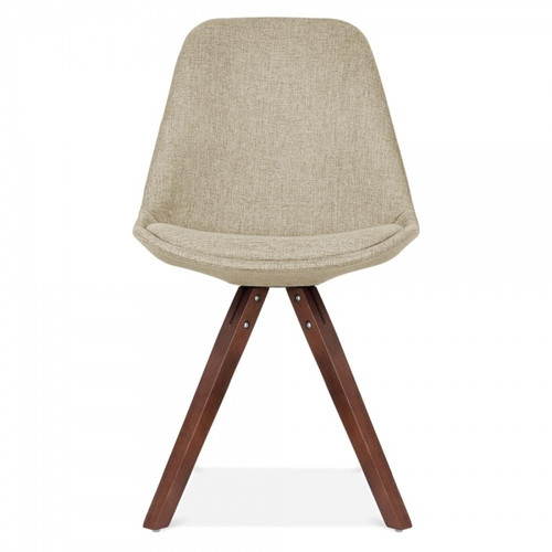 Scandinavian Design Upholstered Chair in Beige Fabric