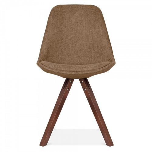 Scandinavian Design Upholstered Chair in Brown Fabric