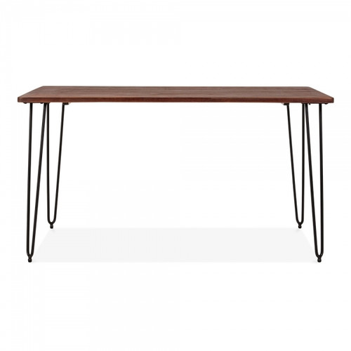 Hairpin Style Table - 140cm Elm Wood & Black