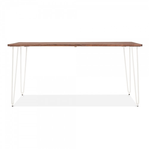 Hairpin Style Table - 160cm Elm Wood & White