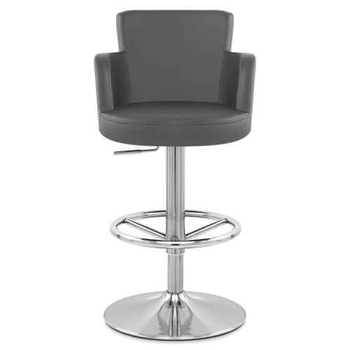 Charles Faux Leather & Brushed Steel Bar Stool - Grey