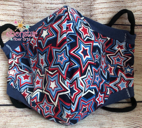 4th of July Mask – Adult Medium in Star Spangled fabric – Ready to Ship