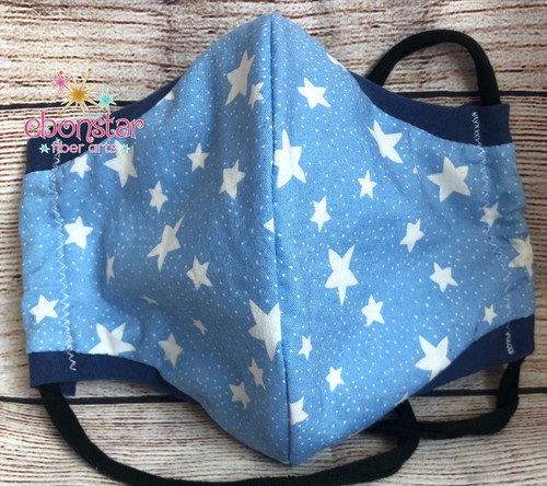 4th of July Mask – Adult Medium in White Stars on Light Blue fabric – Ready to Ship