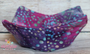 Blue and Green dots on purple and pink background on both sides