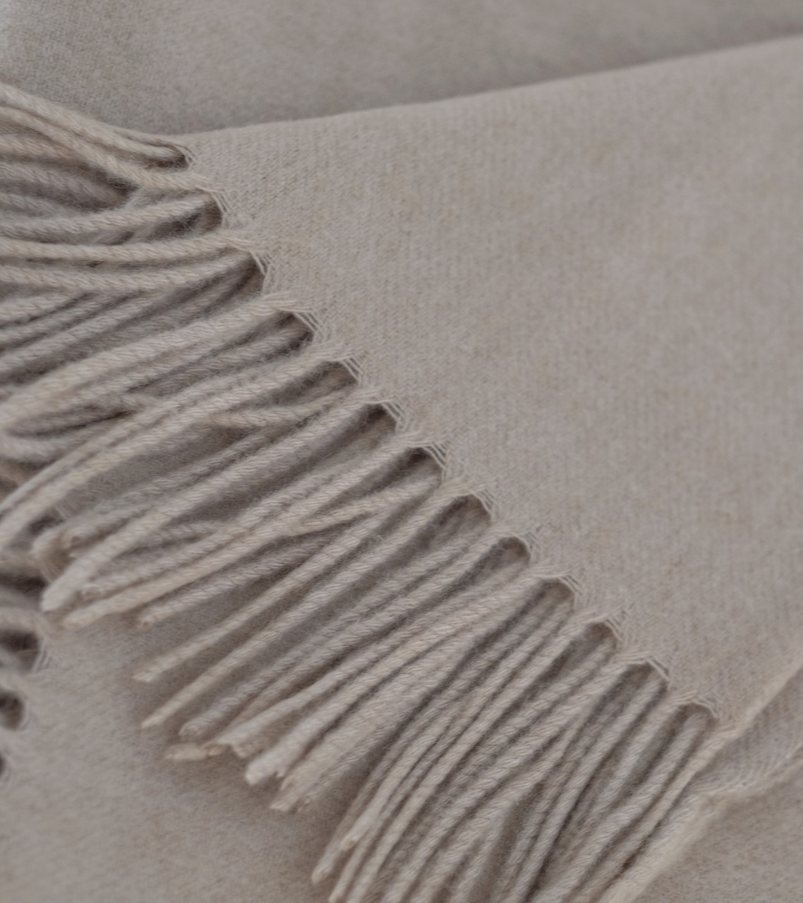 Soft Tan Woven Cashmere Throw