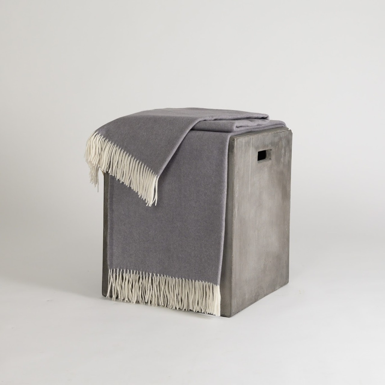 Gray & White Woven Cashmere Throw