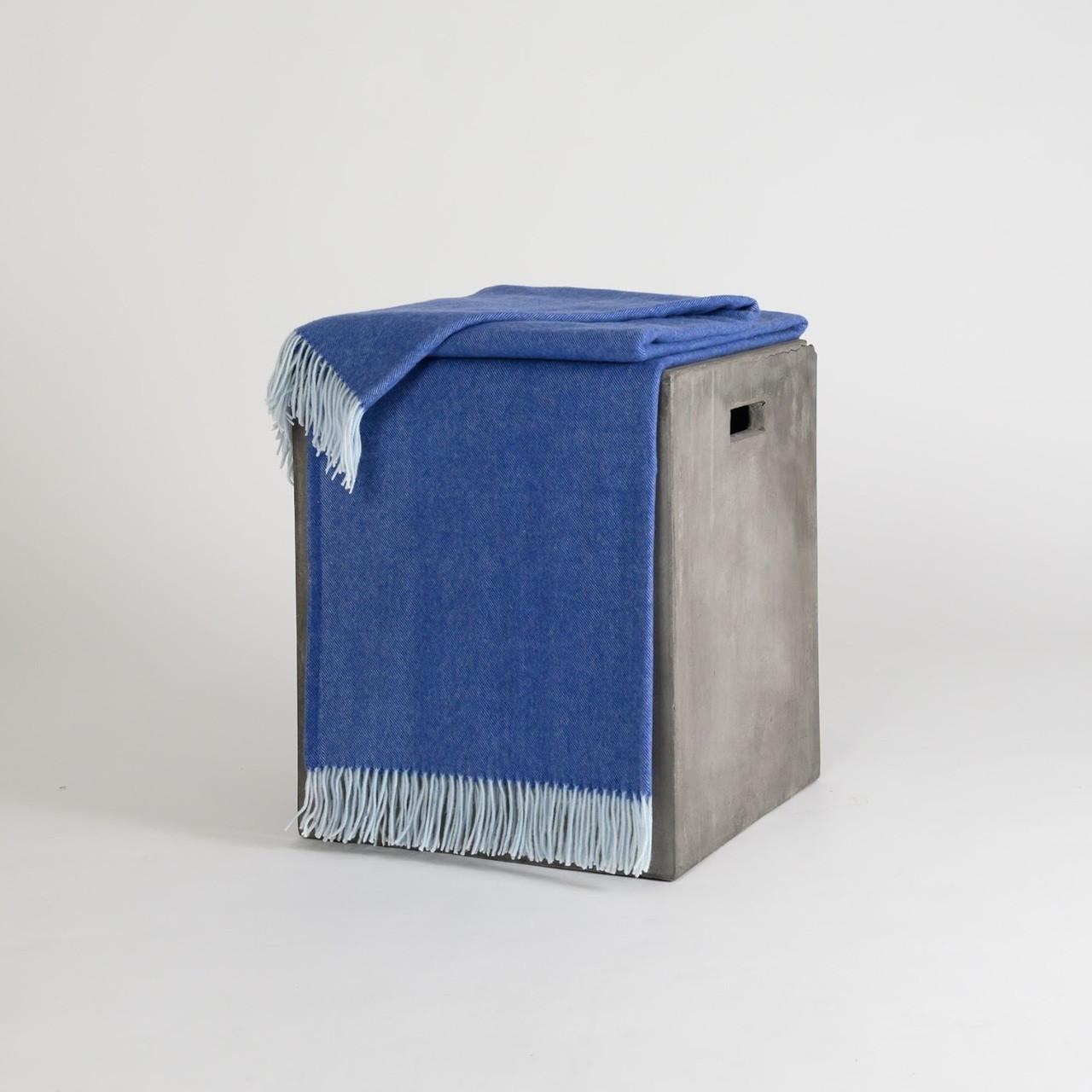 Dark Slate Blue & White Woven Cashmere Throw