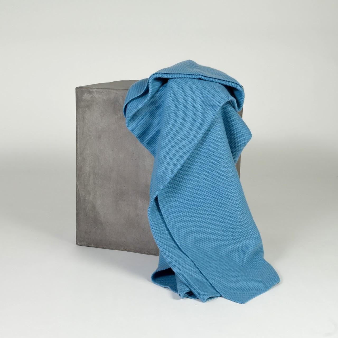 Sky Blue Purl Knit Cashmere Throw