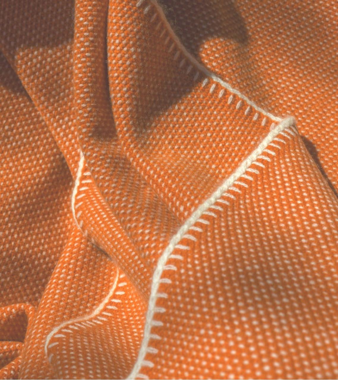 Burnt Orange Bird's Eye Knit Cashmere Throw