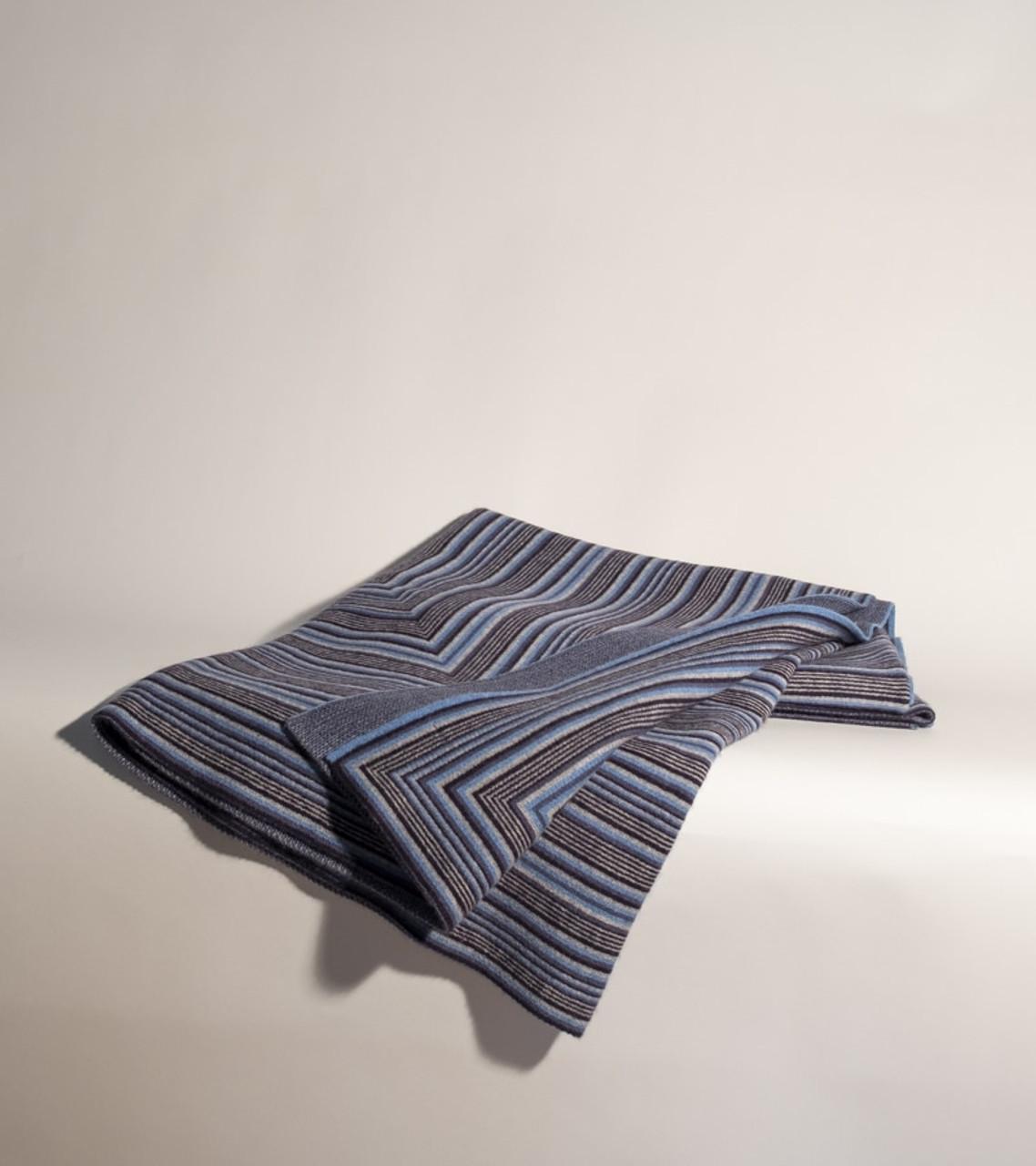 Jacquard Knit All Blue Throw