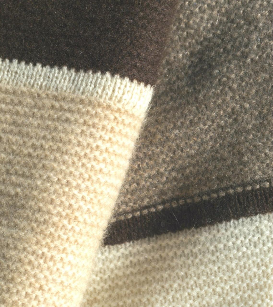 Striped Cashmere Throw in Dark Chocolate