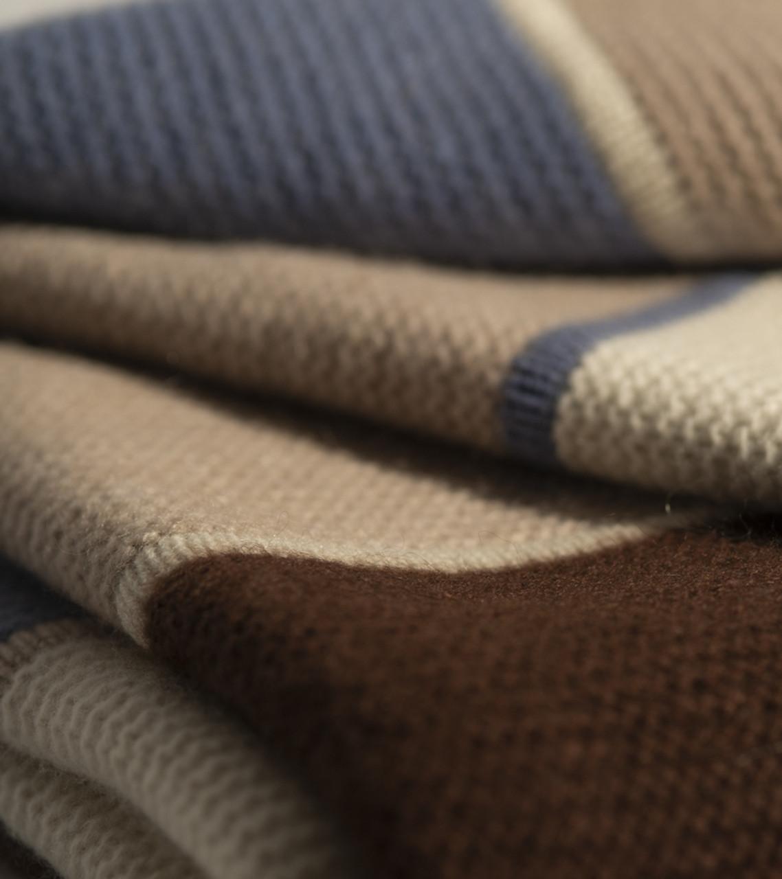 Striped Cashmere Throw in Stonewash Blue