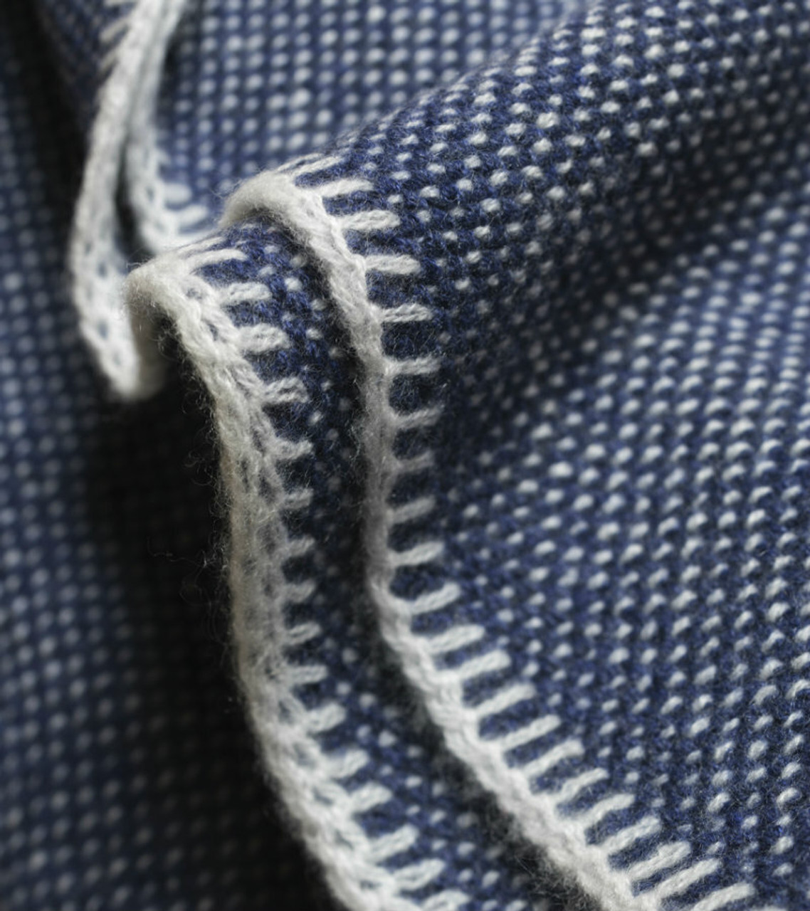 Dark Denim Bird's Eye Knit Cashmere Throw