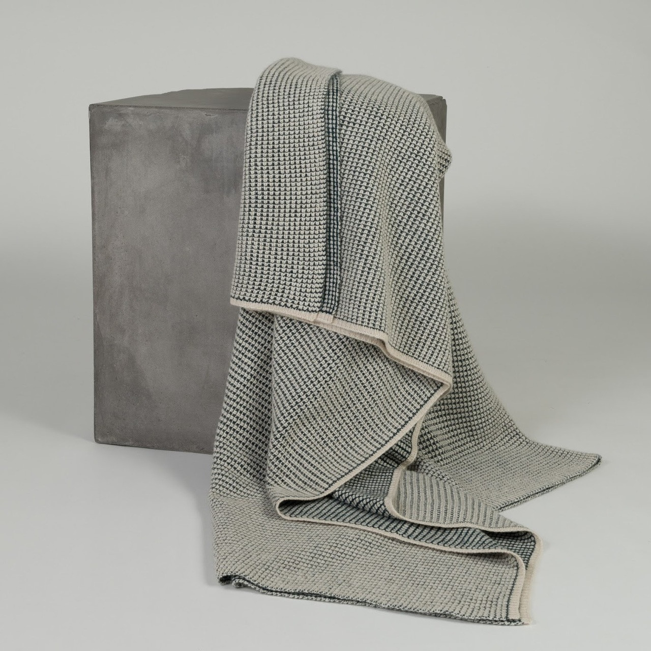 Bottle Green & Organic Brown Waffle Knit Cashmere Throw