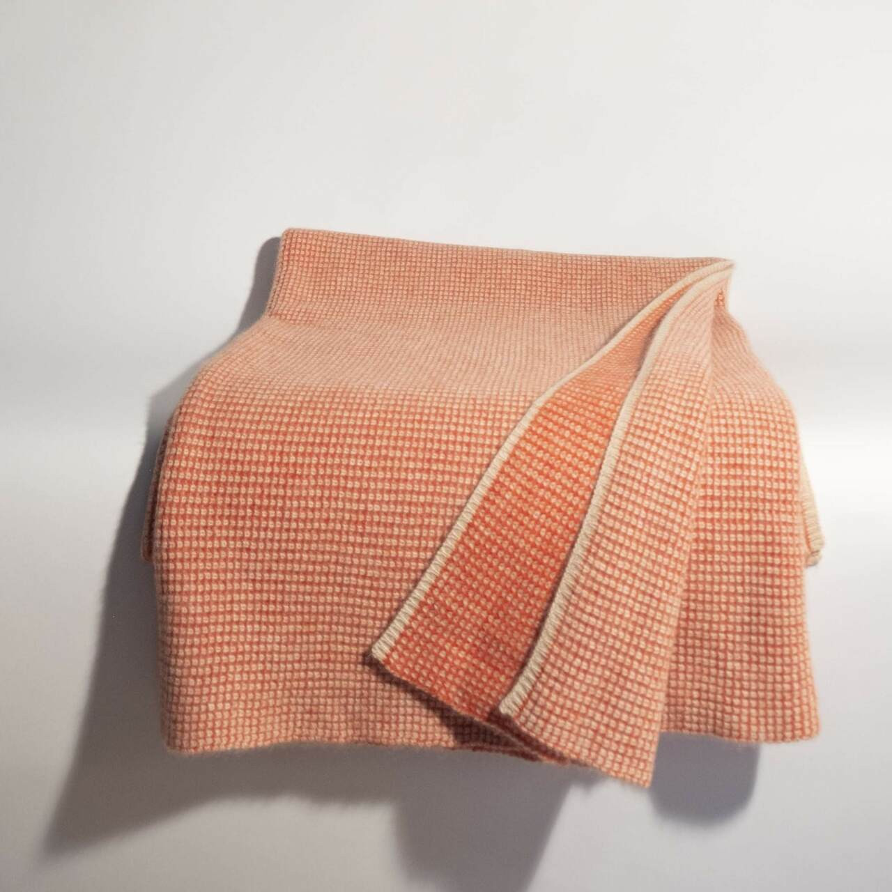 Burnt Orange & Organic Brown Waffle Knit Cashmere Throw