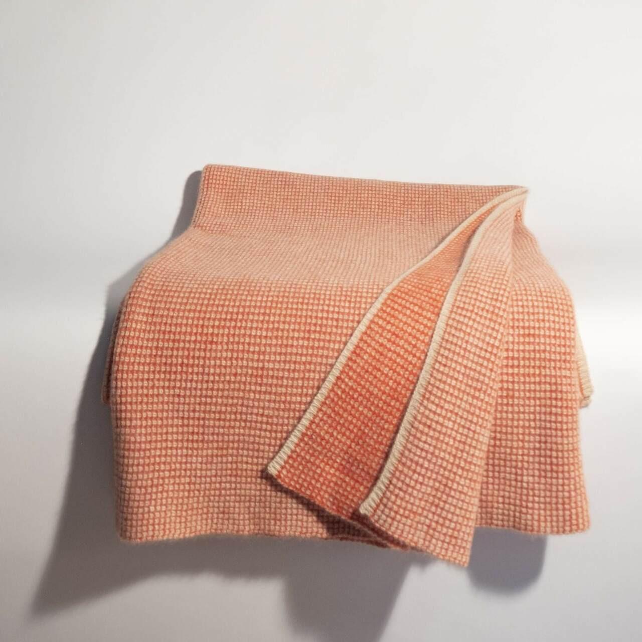 Burnt Orange & Organic Brown Waffle Knit Cashmere Throw