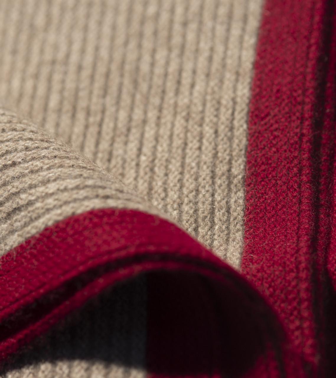 Platinum & Burgundy Ribbed Knit Yak Down Throw