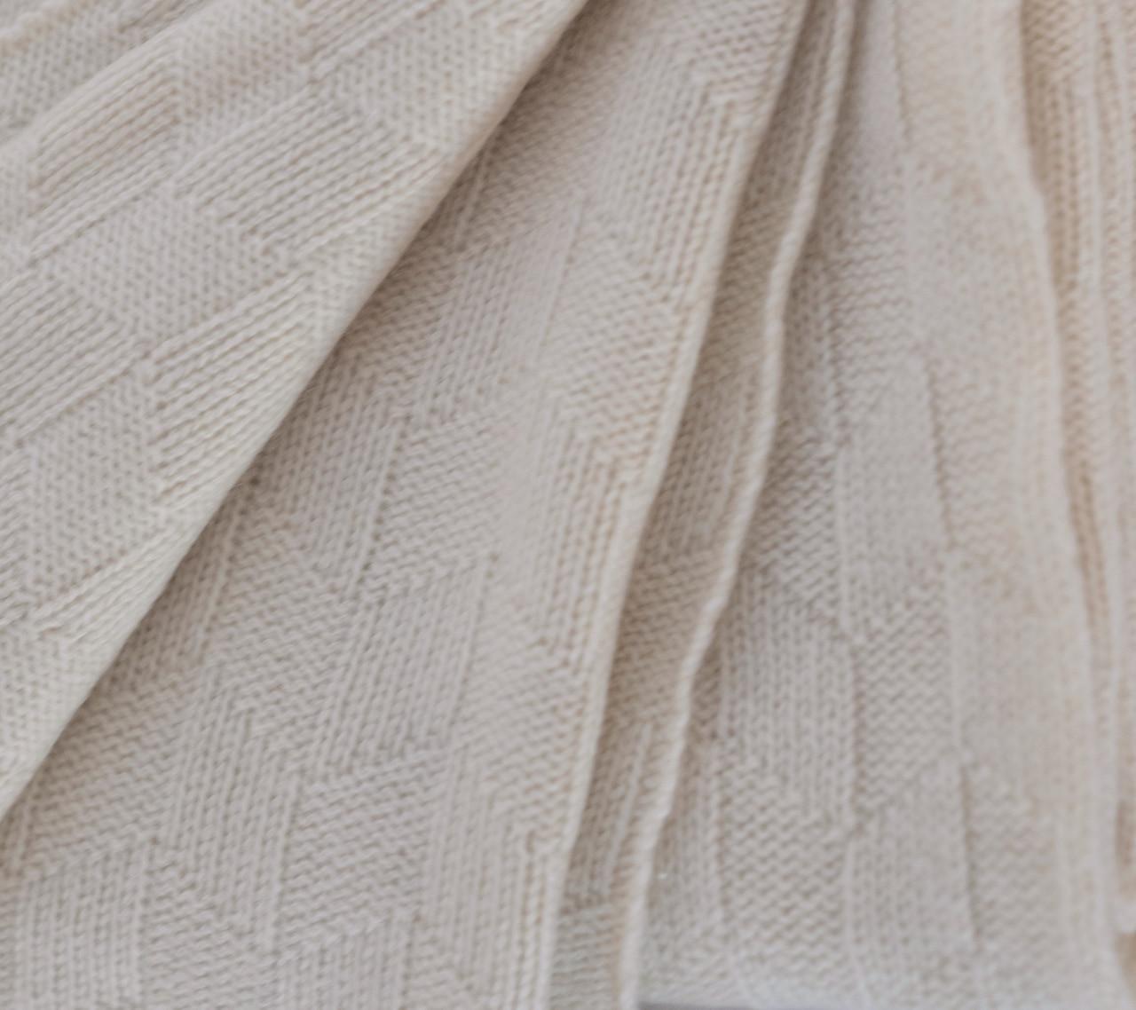 Cream Diamond Lattice Knit Cashmere Throw