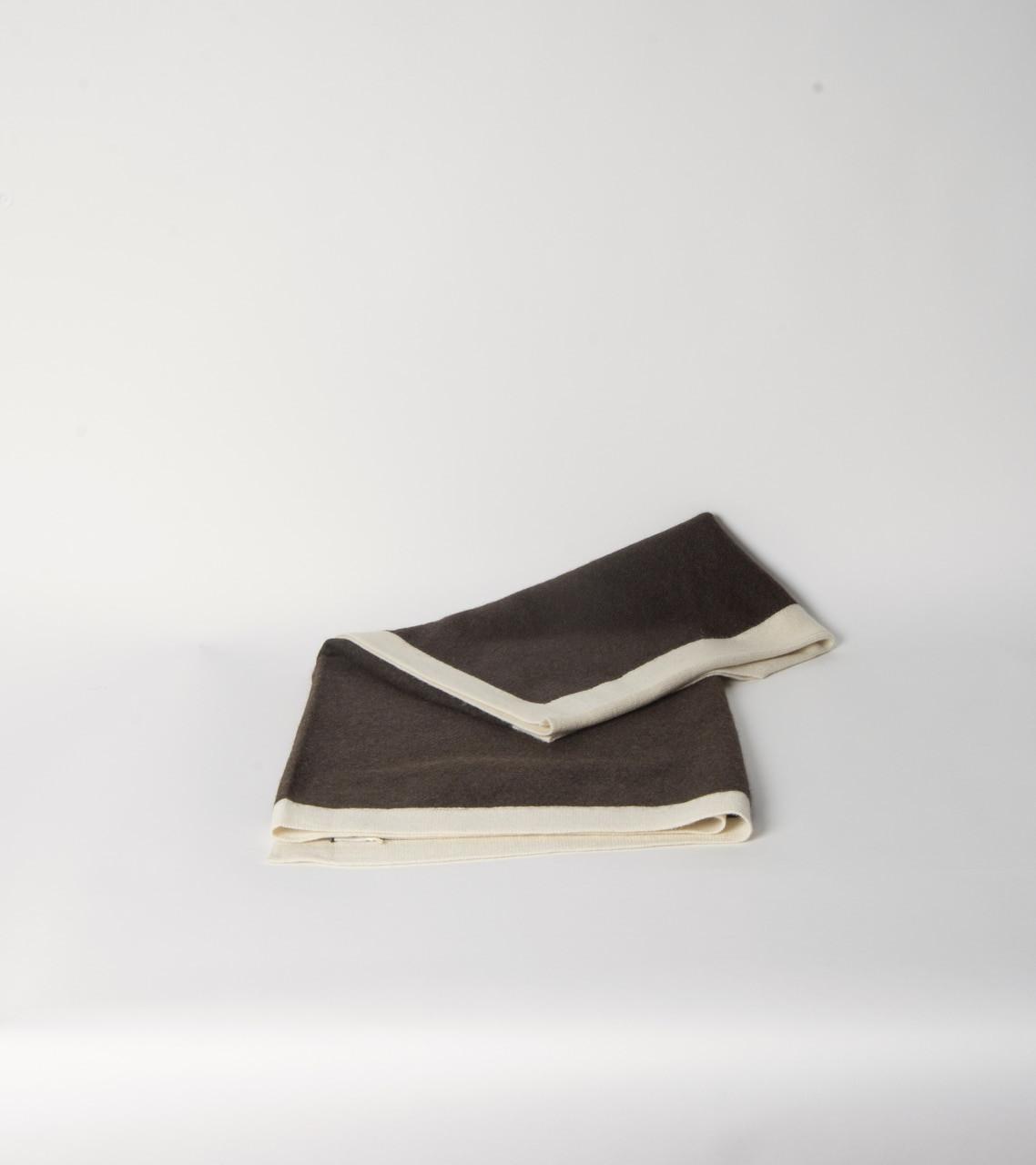 Chocolate & Cream Jersey Knit Poncho