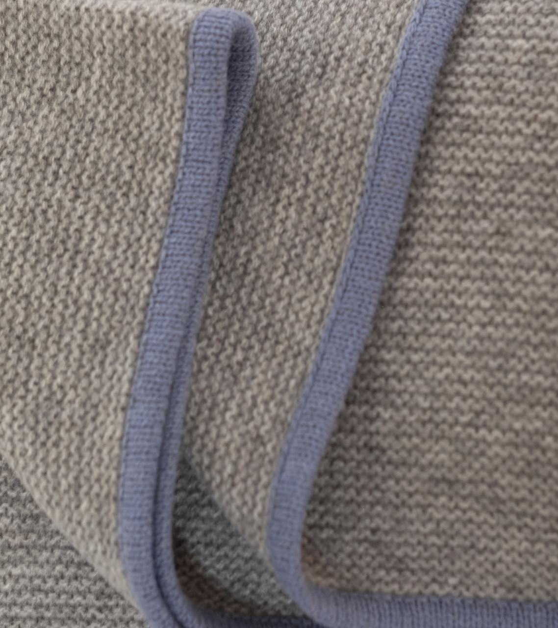 Platinum & Slate Blue Purl Knit Yak Down Throw