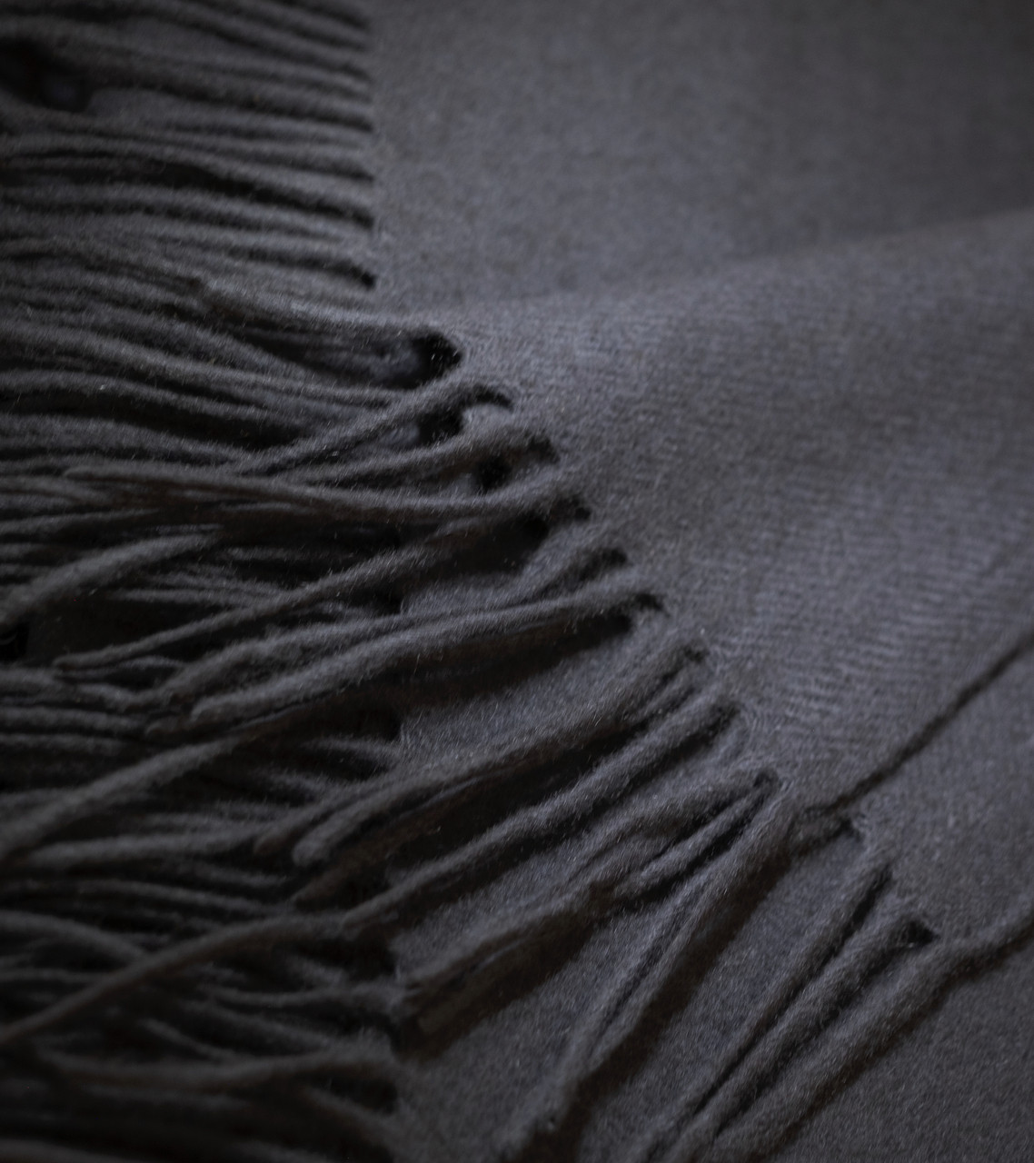 Charcoal Grey Cashmere Woven Throw