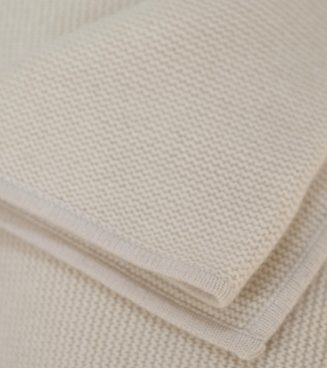 Cream Purl Knit Cashmere Throw