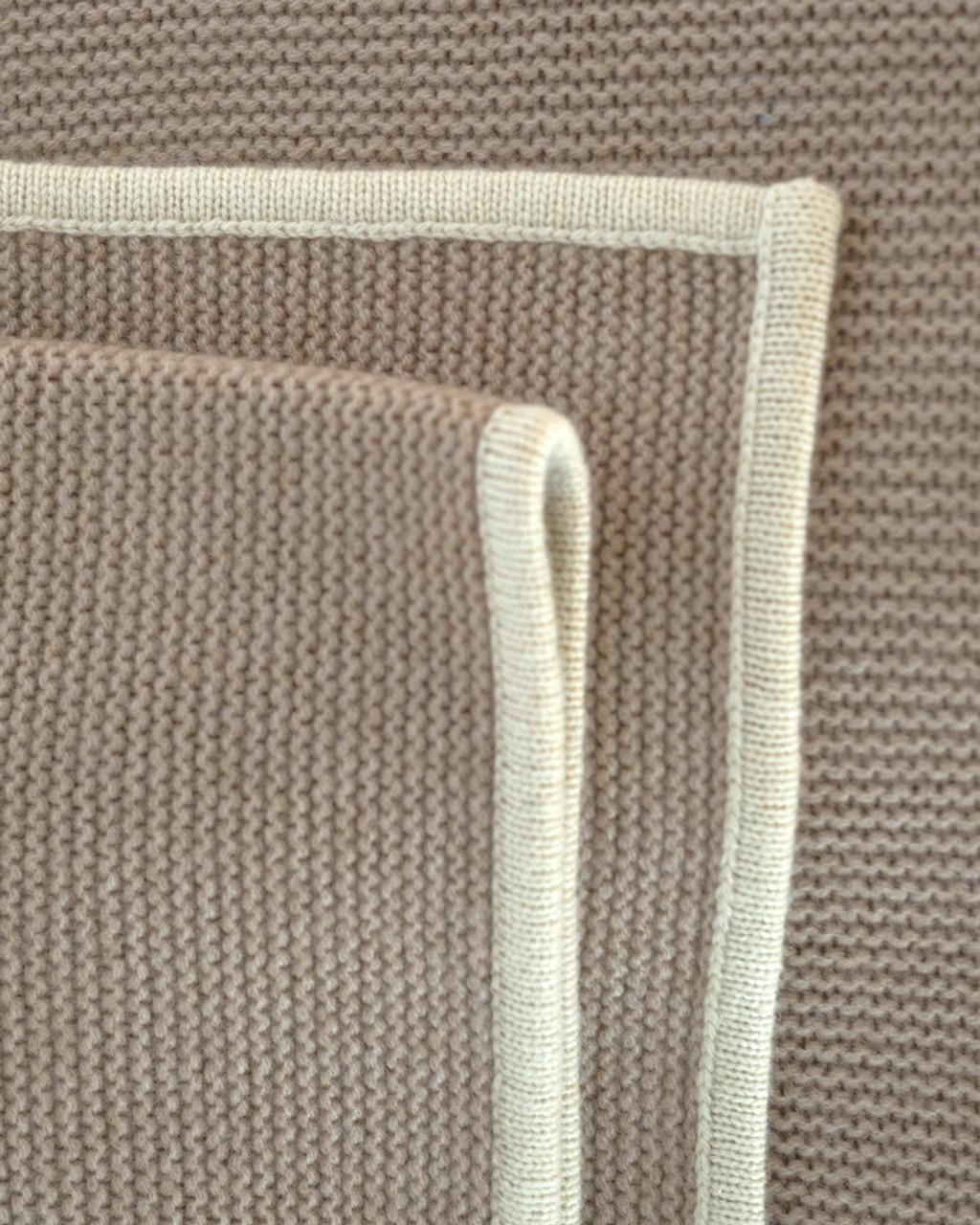 Soft Tan  & Cream Purl Knit Cashmere Throw