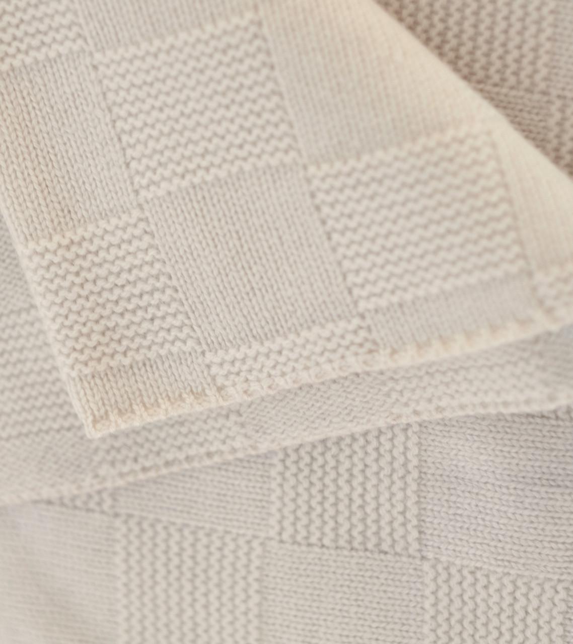 Cream Large Lattice Knit Cashmere Throw