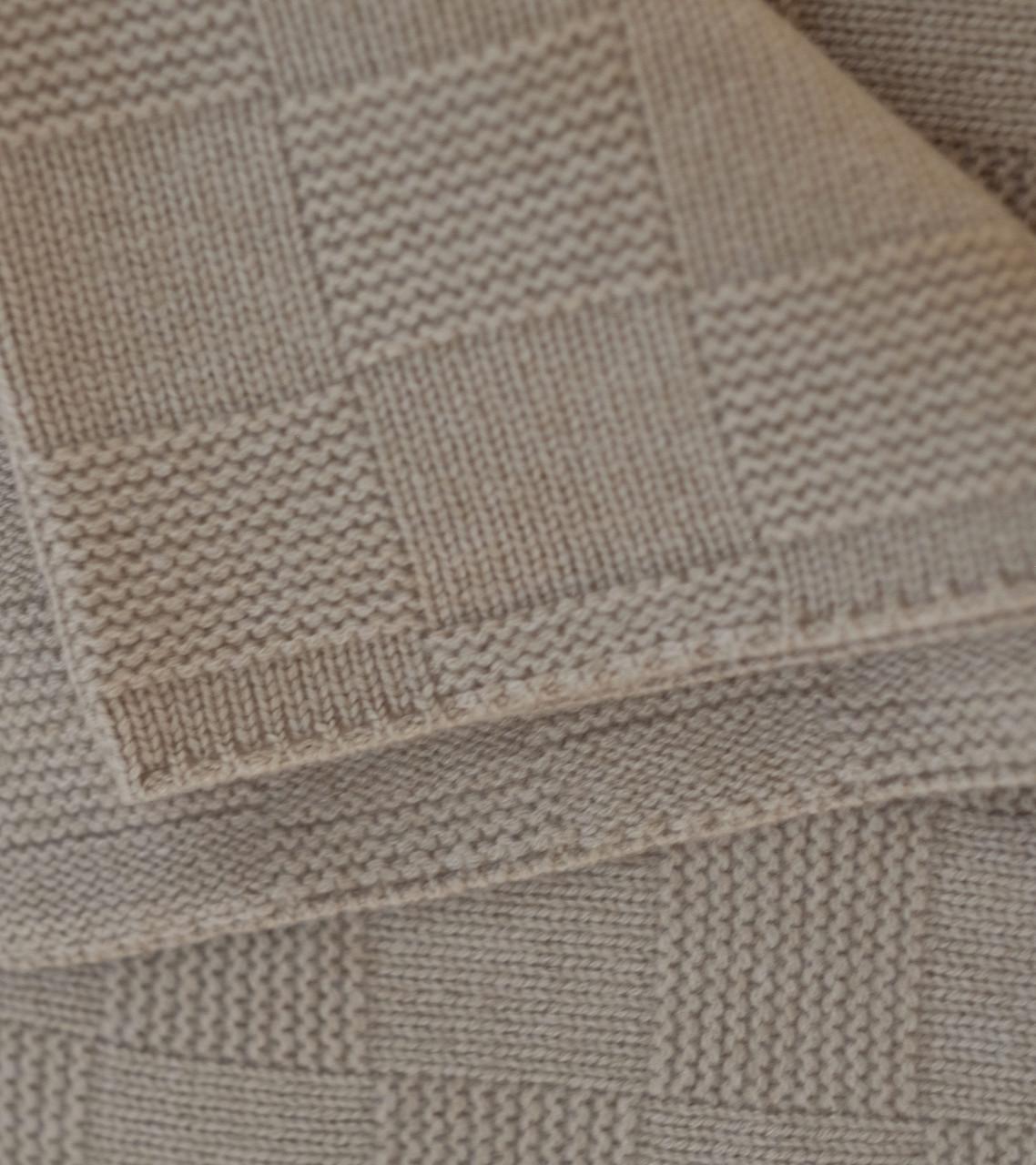 Tan Large Lattice Knit Cashmere Throw