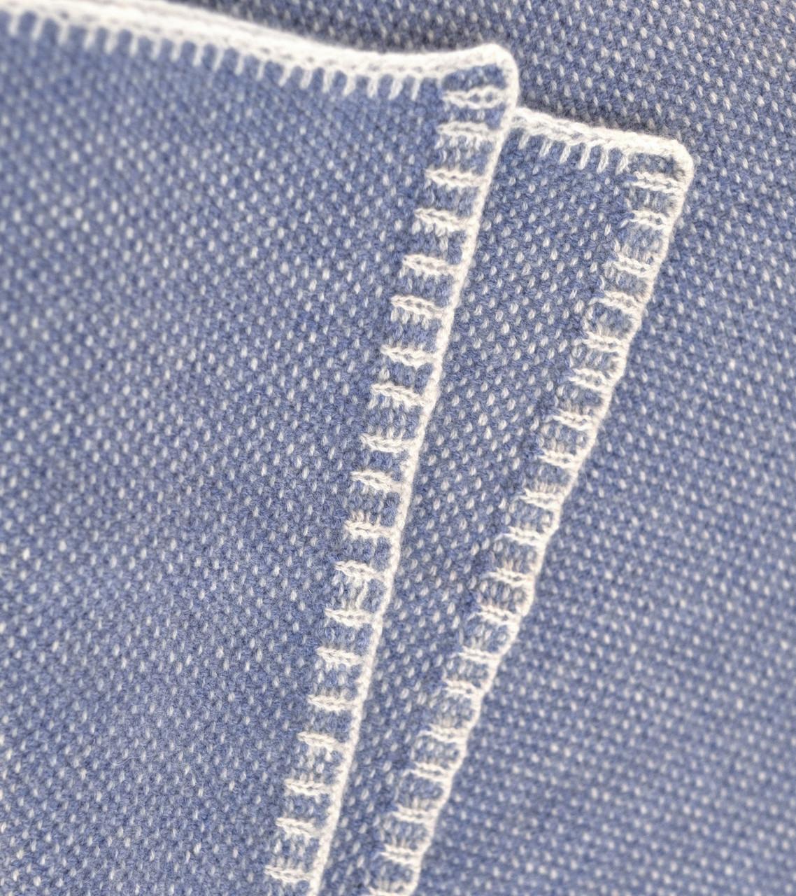 Stonewash Blue Bird's Eye Knit Cashmere Throw