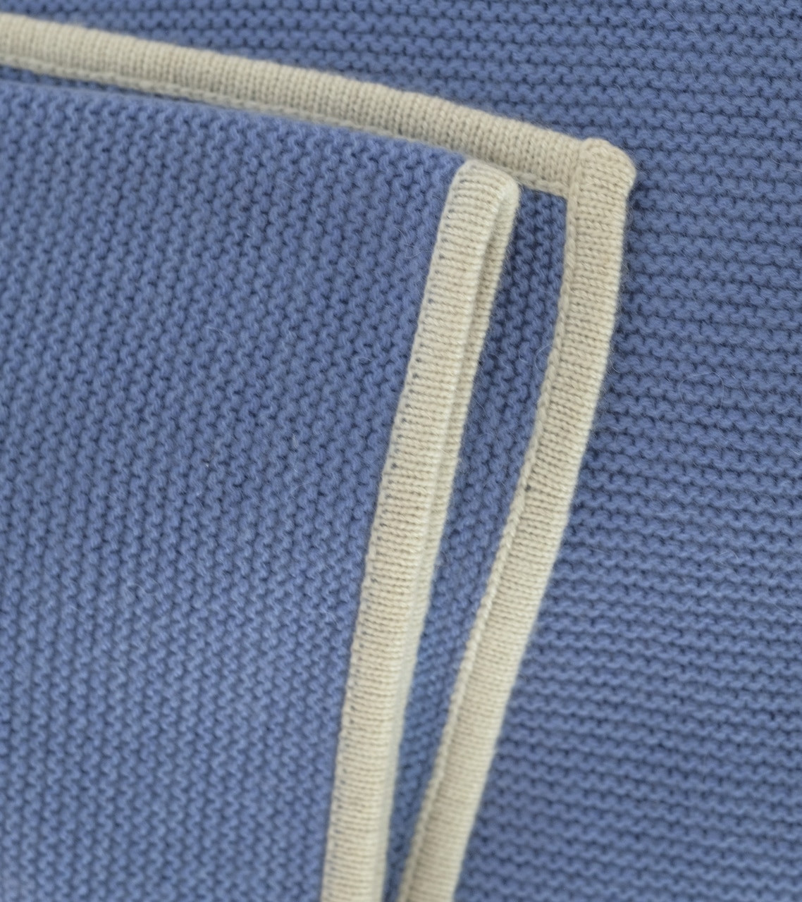 Periwinkle & Cream Purl Knit Cashmere Throw