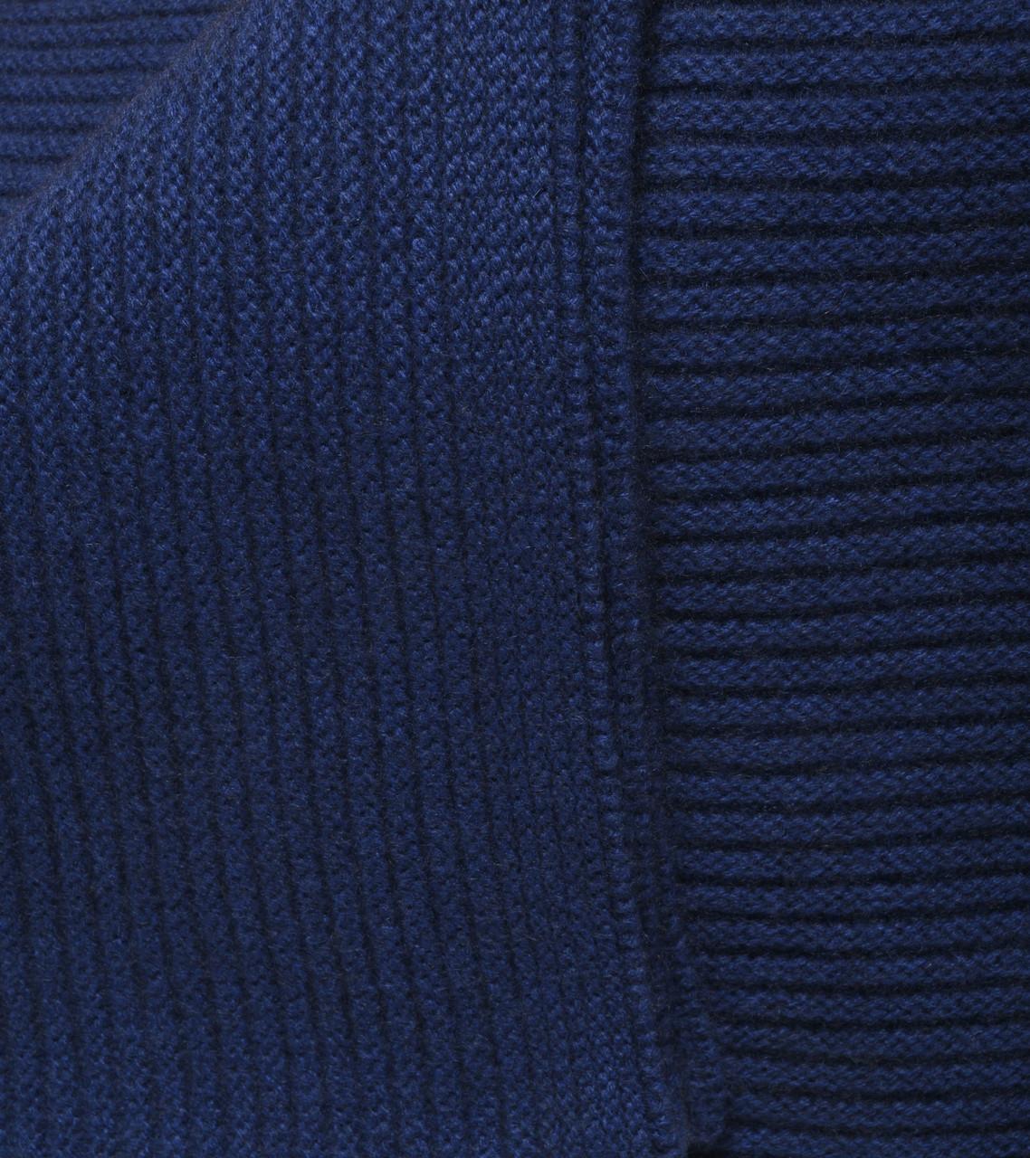 Cobalt Blue Ribbed Knit Cashmere Throw
