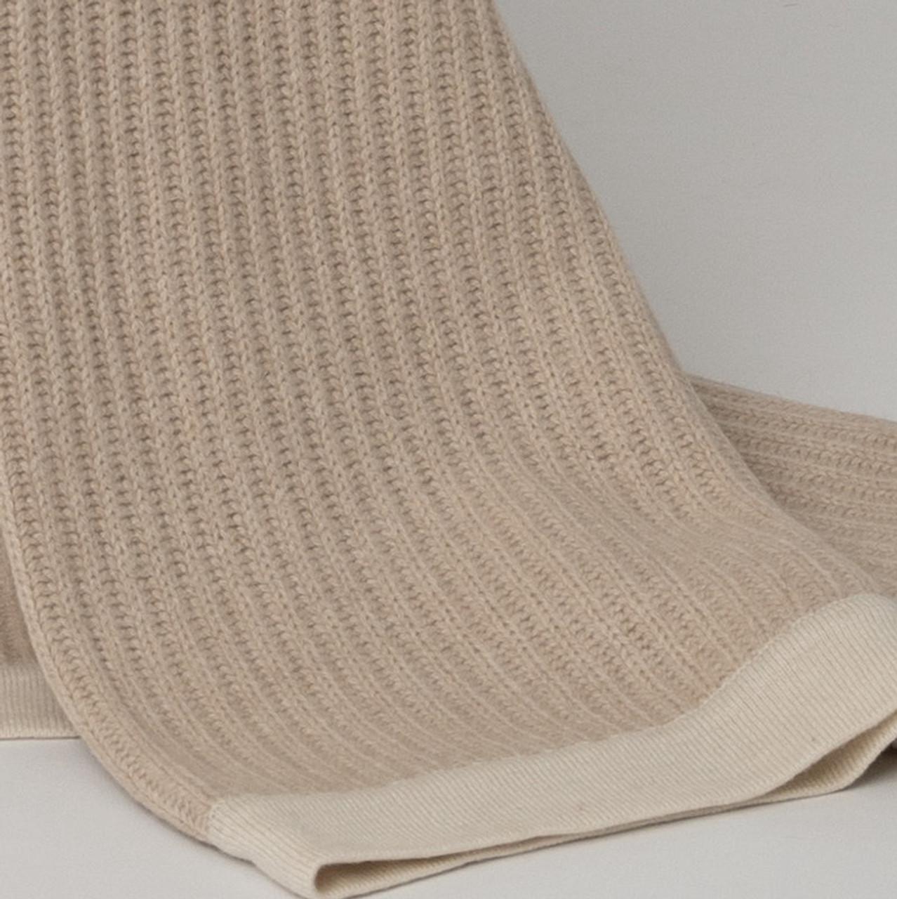 Beige & Cream Fisherman's Knit Cashmere Throw