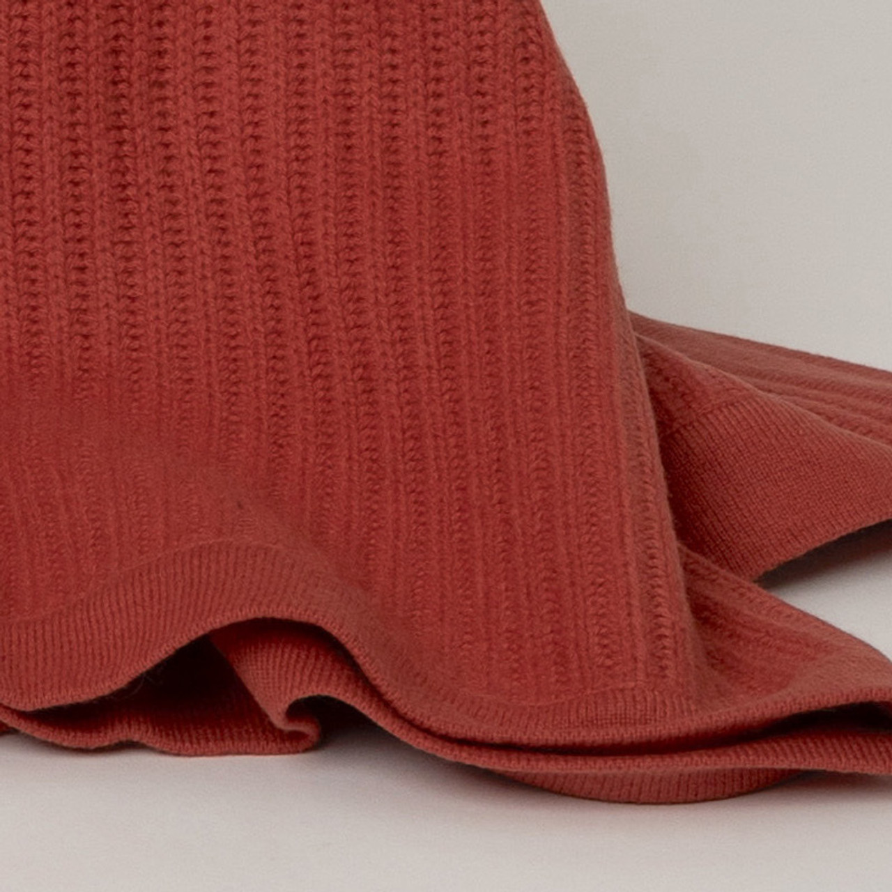 Rust Fisherman's Knit Cashmere Throw