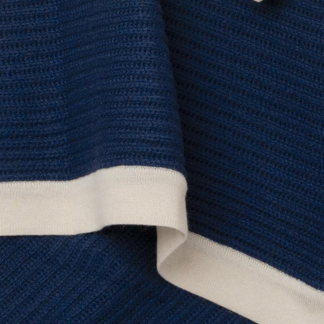 Dark Navy & Cream Fisherman's Knit Cashmere Throw