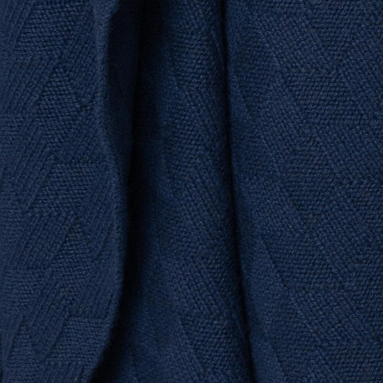 Dark Navy Diamond Lattice Knit Cashmere Throw