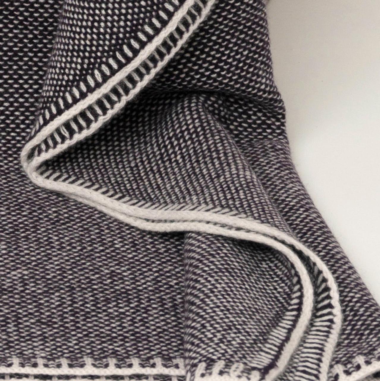 Aubergine Bird's Eye Knit Cashmere Throw
