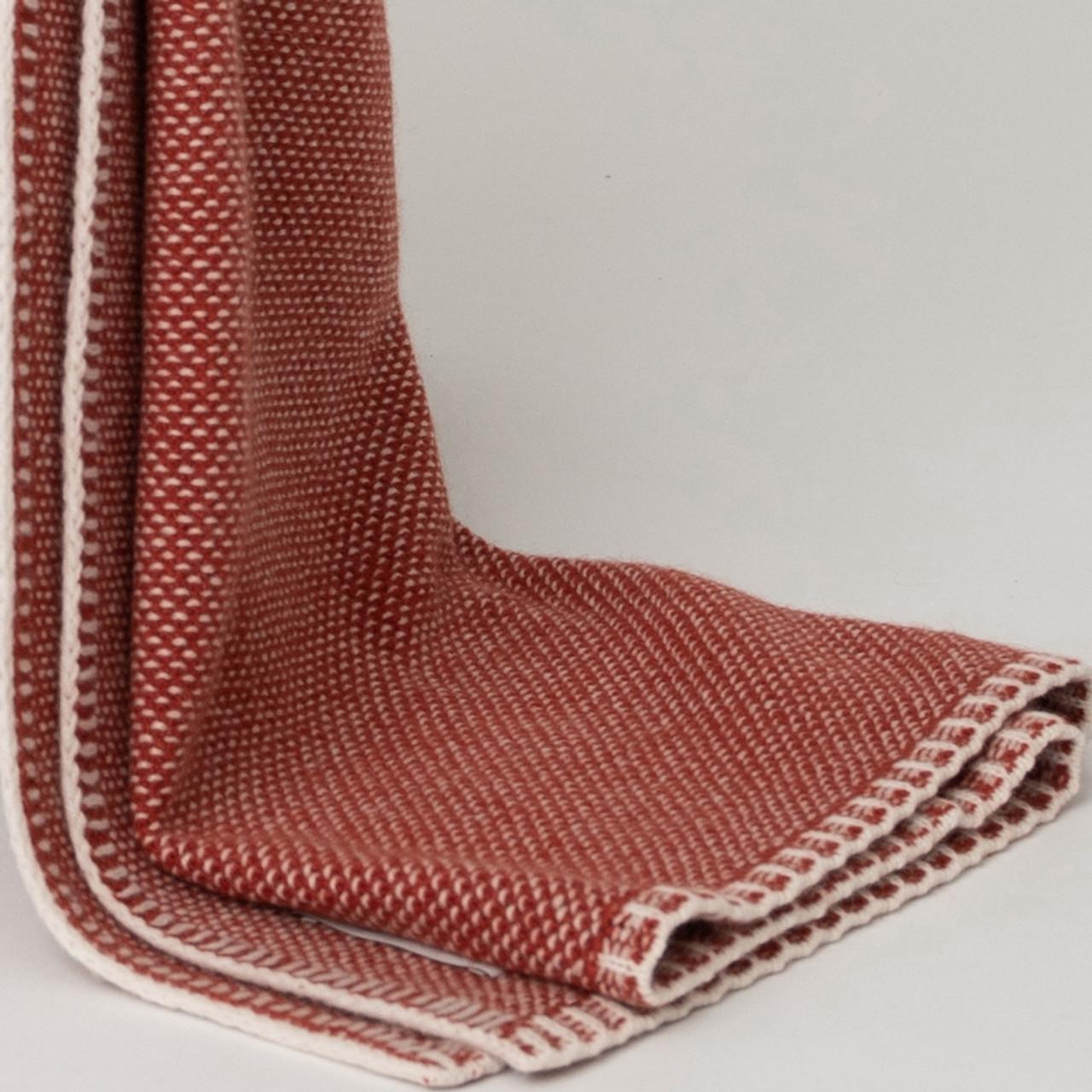 Rust Bird's Eye Knit Cashmere Throw