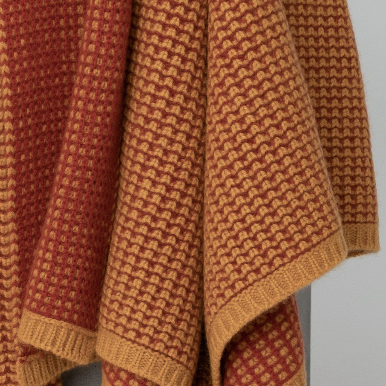 Gold & Rust Waffle Knit Cashmere Throw