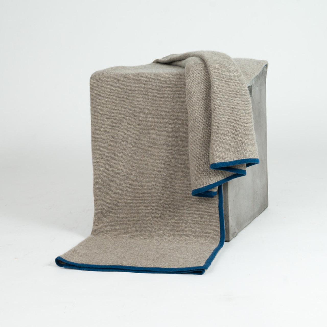 Platinum & Mineral Blue Purl Knit Yak Down Throw