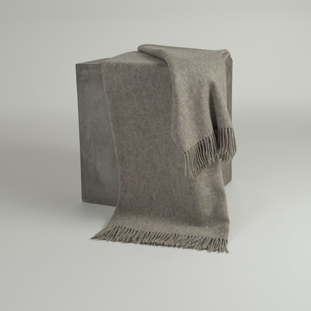 Solid Platinum Woven Yak Down Throw