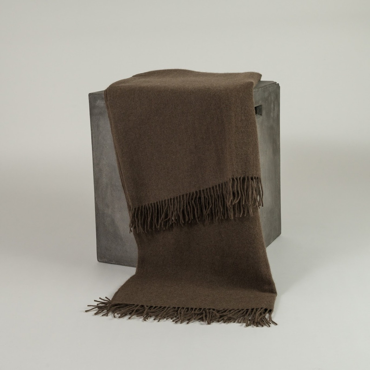 Solid Cappuccino Woven Yak Down Throw