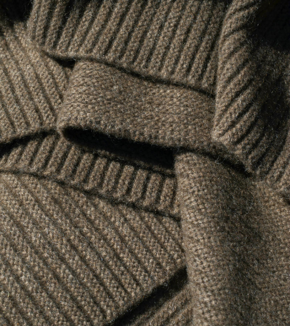 Solid Cappuccino Ribbed Knit Yak Down Throw
