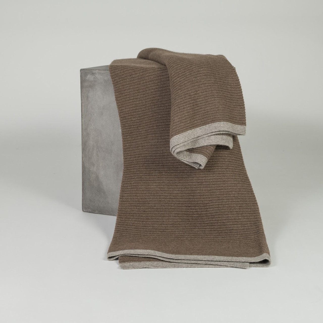 Cappuccino & Platinum Ribbed Knit Yak Down Throw