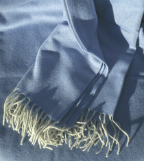 Periwinkle & White Woven Cashmere Throw