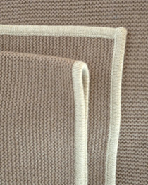 Soft Tan  & Cream Purl Knit Cashmere Throw