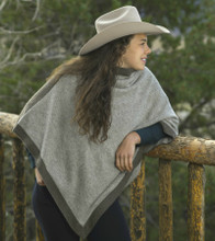 Platinum/Dark Grey Reversible Jersey Knit Yak Down Poncho