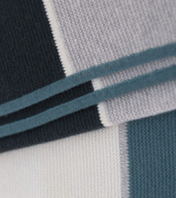 Striped Cashmere Throw in Teal Blue